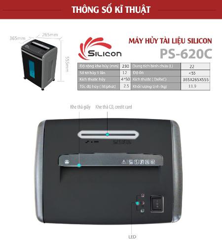 Máy hủy tài liệu 4 bánh xe Silicon PS-620C